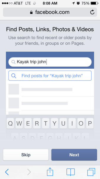 "Click ""find Posts"" to narrow your search from regular Facebook results of people, Pages, Groups, to specific posts."