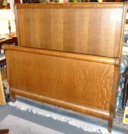 Oak Sleigh Bed Full Size Or Queen Size Antique