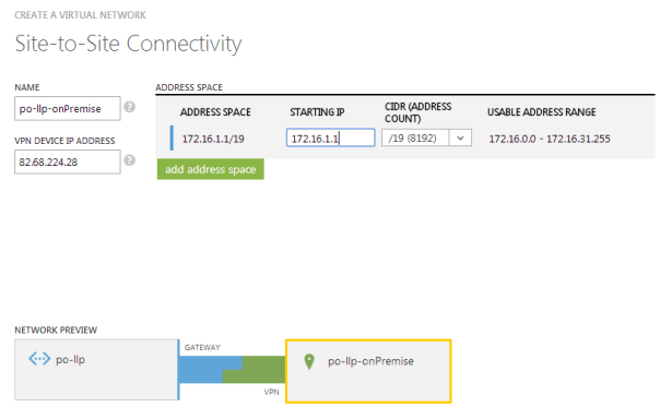 Defining the local network properties for linking to an Azure virtual network