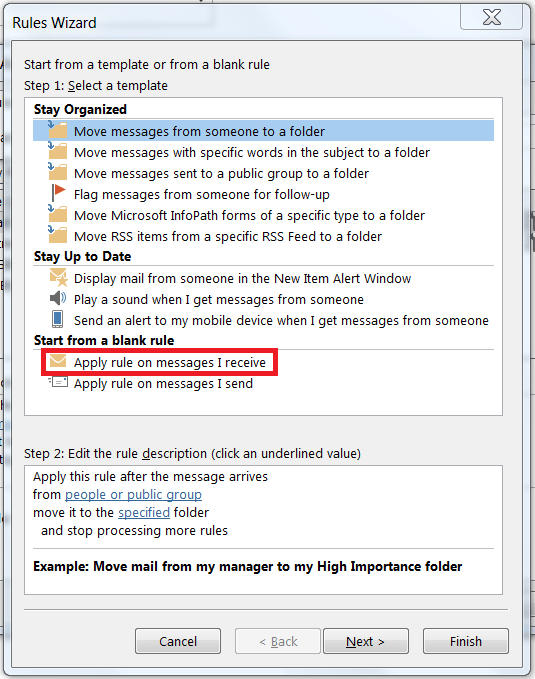 Outlook 2013 - Creating a blank rule on an incoming message