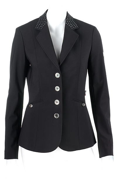 Gilda Competition Show Jacket - Front View in Black by Equiline
