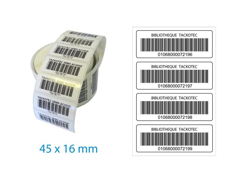 1000 etiquettes adhesives rectangulaires impression une couleur 50mm x 20mm