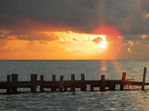 sunrise at belizean reef