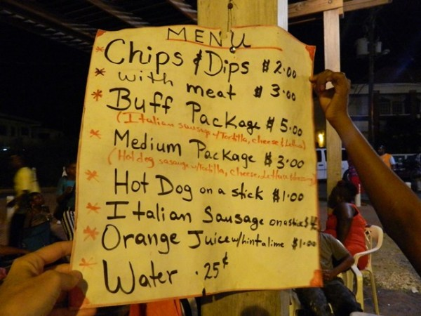 food sign at the belize national song competition