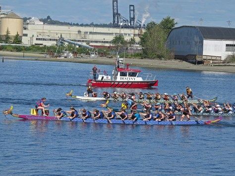 Photo of dragon boats and tug boat in Tacoma