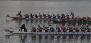 Photo of dragon boat finish