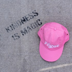 pink hat on ground
