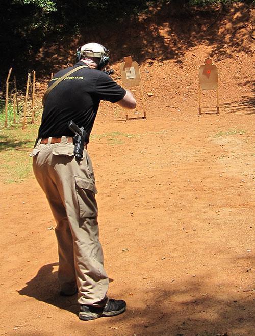 John Cello running a carbine on the range.