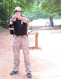 Instructor firing pistol