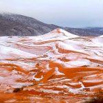 Cae nieve en Sahara, el desierto más cálido del mundo