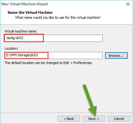 Virtual machine name and location
