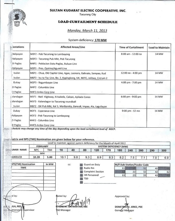 March 11, 2013 power interruption schedule notice by SUKELCO