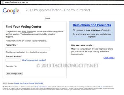 Snapshot of Google's find your precinct app portal page.