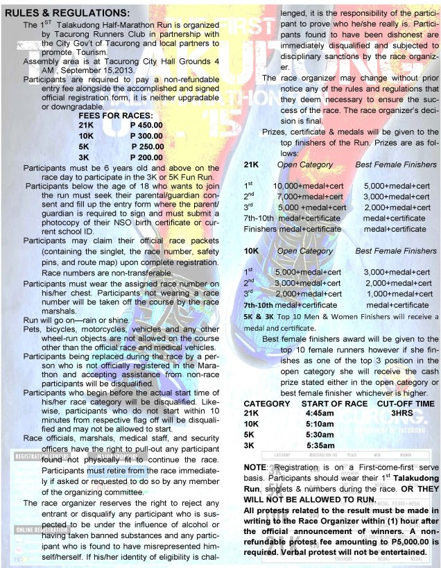 Race Rules and Regulations (Pls. click image for a larger view)