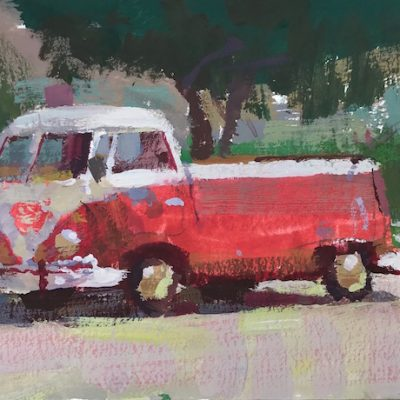 """""""Red Volkswagen"""" Gouache on board. 4x5 inches"""