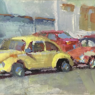 """""""Two Beetles"""" Gouache on board. 4.5x9 inches"""