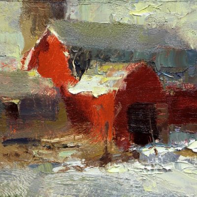 """""""Red Barn"""" Oil on board. 6x7.5 inches"""