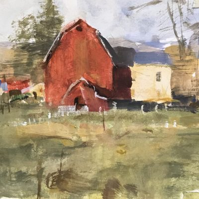 """""""Afternoon Barn Study"""" Gouache on board. 6x8 inches"""