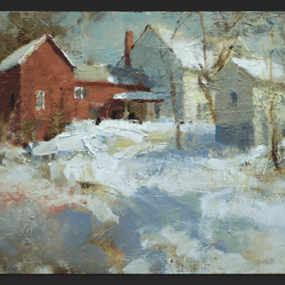 """""""Morristown, Vermont"""" Oil on board. 12x18 inches"""
