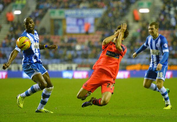 A dive or violent conduct? Lee Chung-Yong goes down against Wigan. Photo courtesy of Bolton Twitter feed
