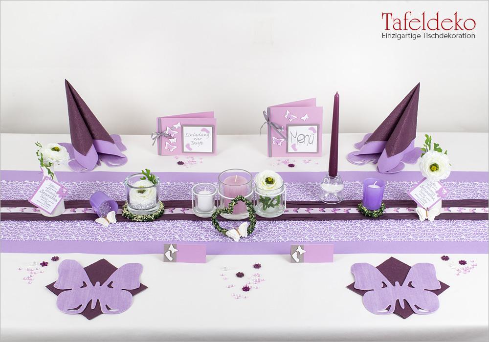 Tischdeko Lila Servietten Hochzeit Geburtstag Taufe