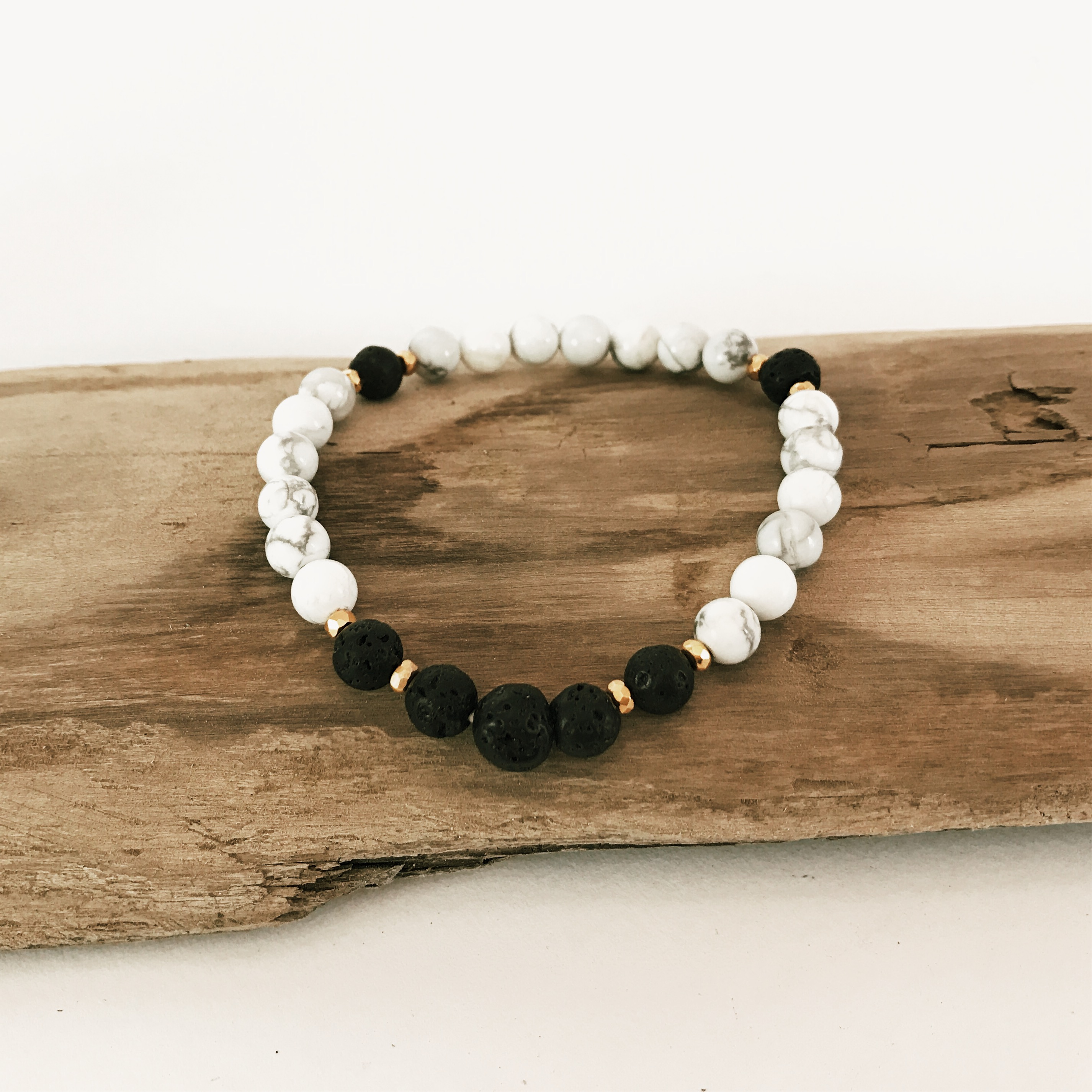 Howlite with Lava Stone Beads
