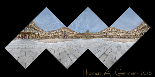 The Cour Carrée of the Louvre, a proof of a panoramic cube sculpture.