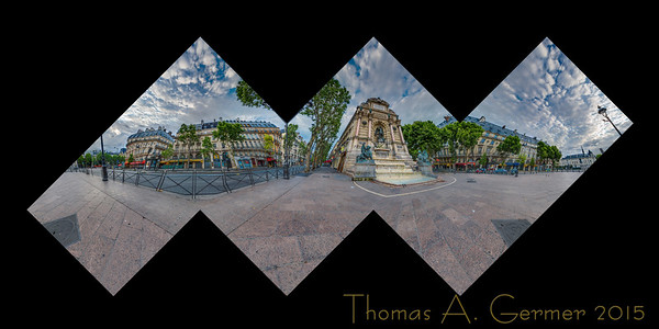 Fontaine Saint-Michel in Paris, a flattened cube spherical panorama.