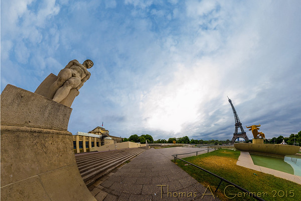 Jardins du Trocadéro, a spherical panorama, shown as a stereographic projection