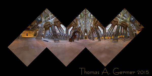 The nave of St. Mary's Cathedral in Lincoln, England, presented as a cubic panorama.