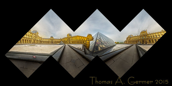 The Louvre Pyramid, a spherical panorama, mapped onto a cube and laid out flat. This is a proof for a photographic sculpture.