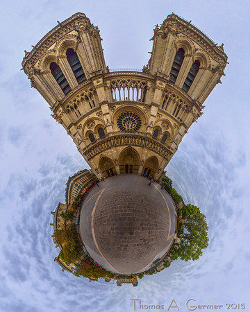 Cathedral Notre Dame, in Paris, laid out as a stereographic projection