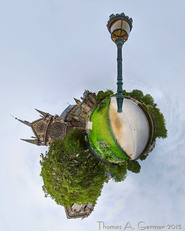 Saint Jean-Paul II, on the south side of the Notre Dame in Paris. This is a spherical panorama shown in a stereographic projection