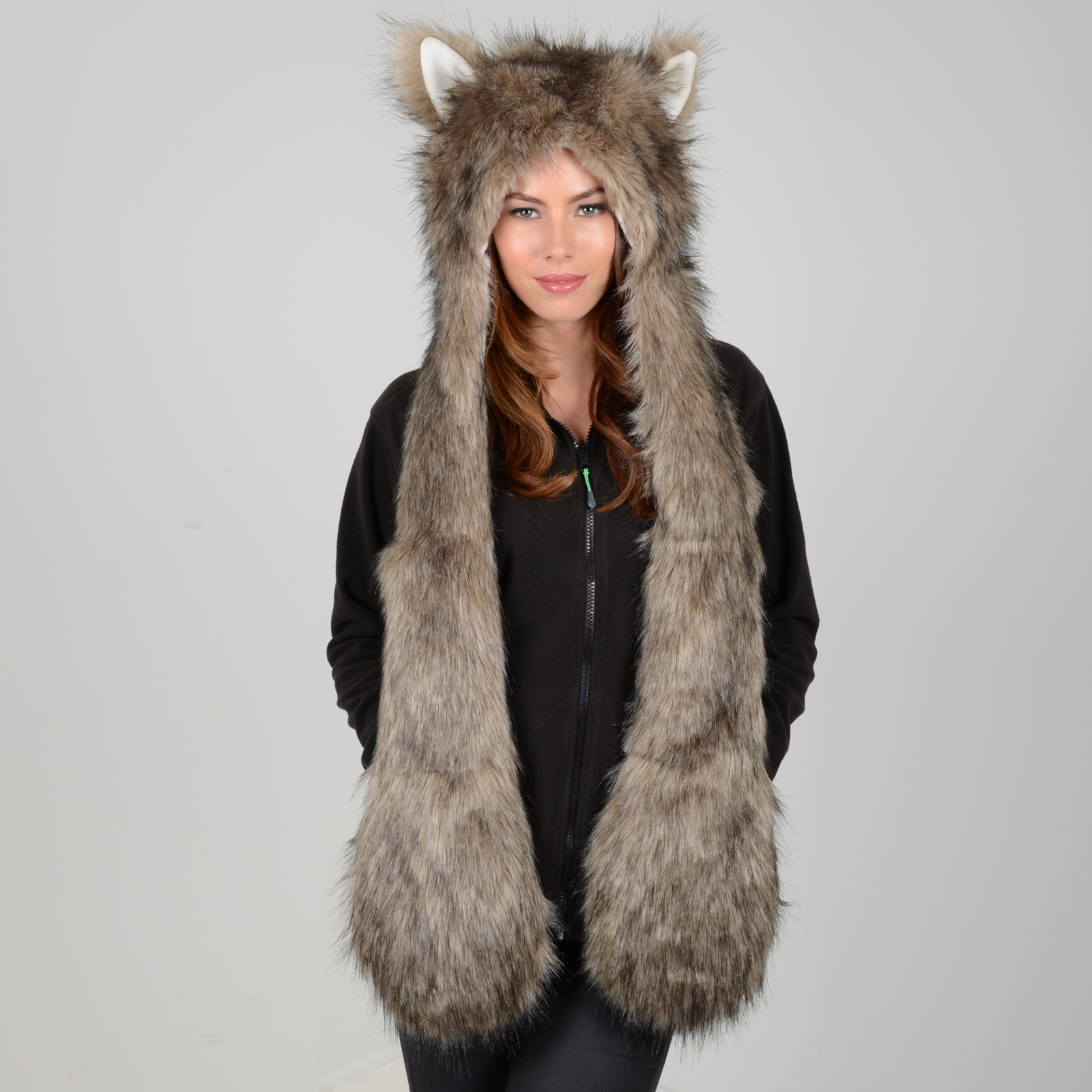 Knit With Fur Scarf Attached Hat