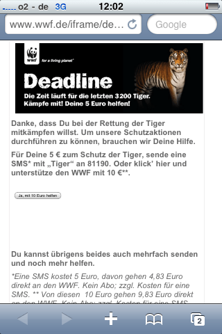 iPhone Screen für WWF