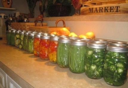 row of jars