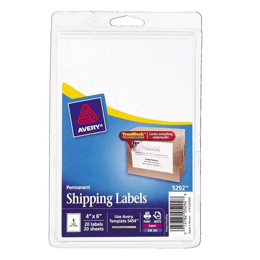 18 Labels Per Sheet Template and Avery Shipping Labels with Trueblock Technology 4 X