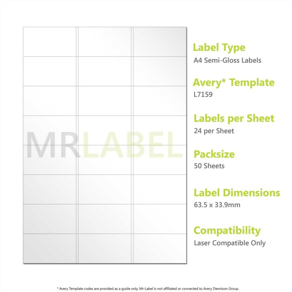 24 Labels Per Sheet Template and A4 Semi Gloss Labels 24 Per Sheet 50 Sheets Laser Patible