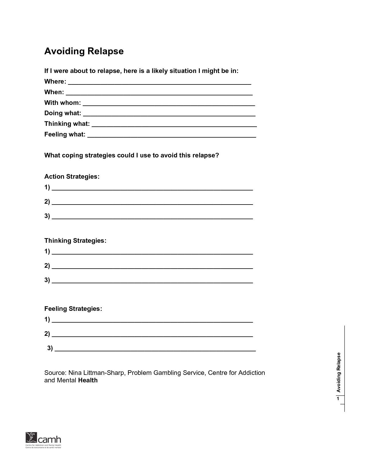 Addiction Recovery Plan Worksheet