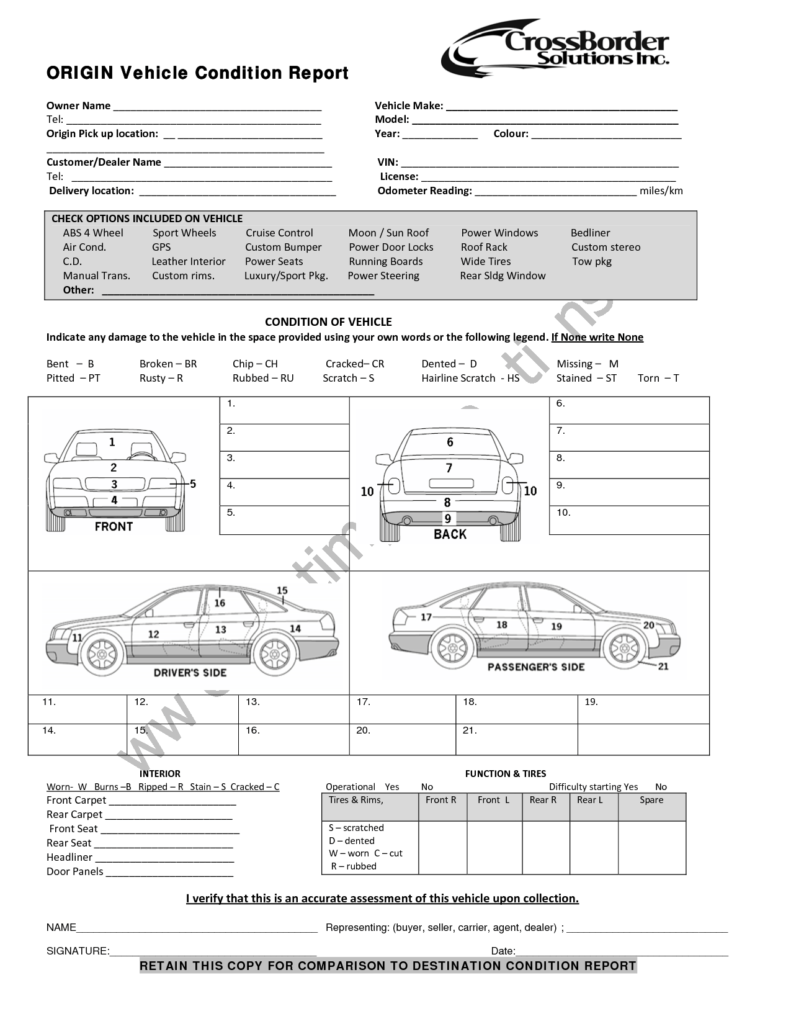 Air Conditioning Service Report Template and Vehicle Condition Report Templates Word Excel Samples