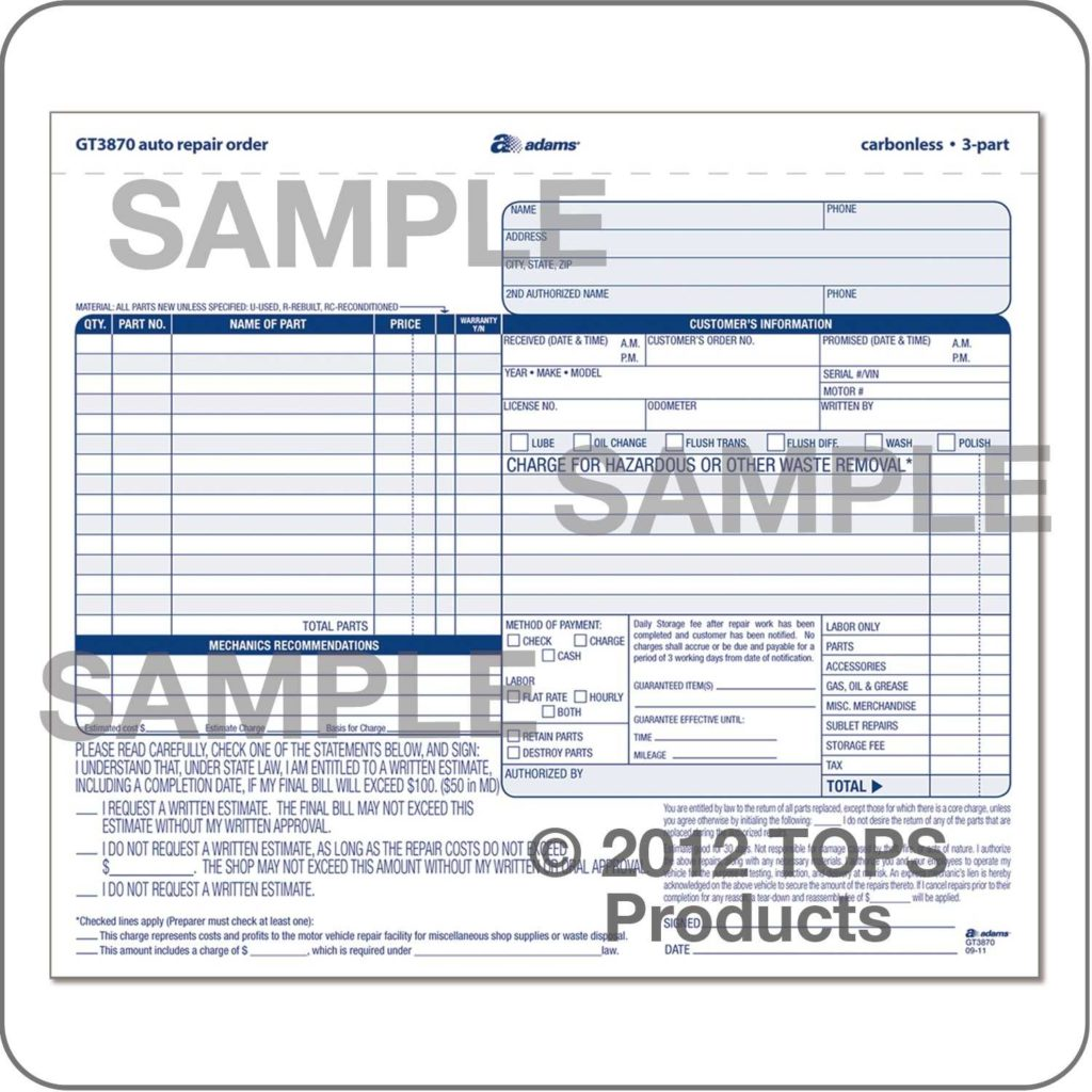 Auto Body Invoice Template and Car Repair Pdf Rabitah
