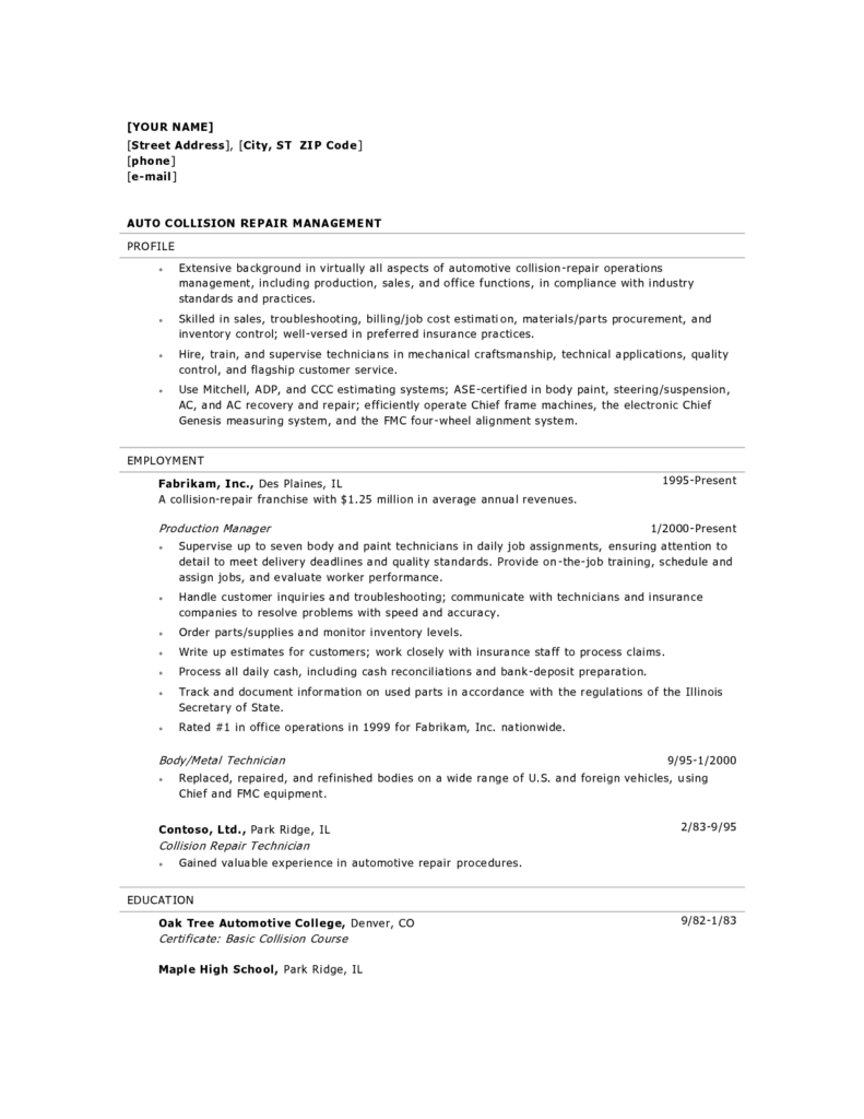Auto Repair order Template Excel and Sample Resume Auto Body Shop Manager Sample Customer Service Resume