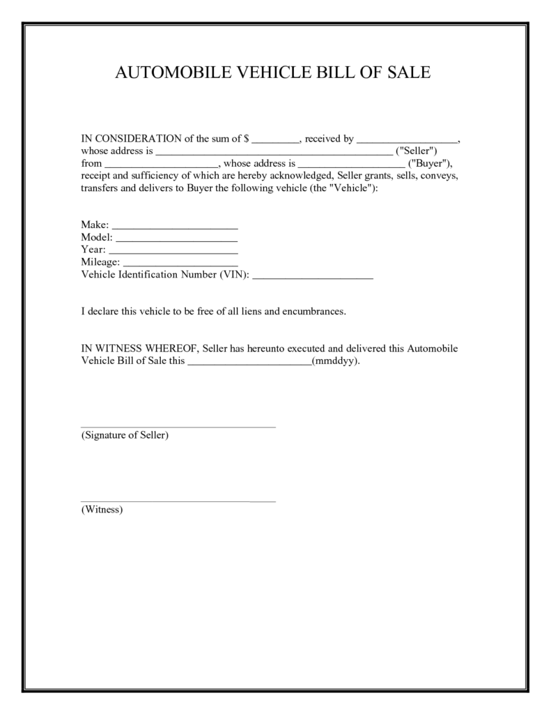 Automobile Bill Of Sale Template and Printable Sample Car Bill Of Sale form Laywers Template forms