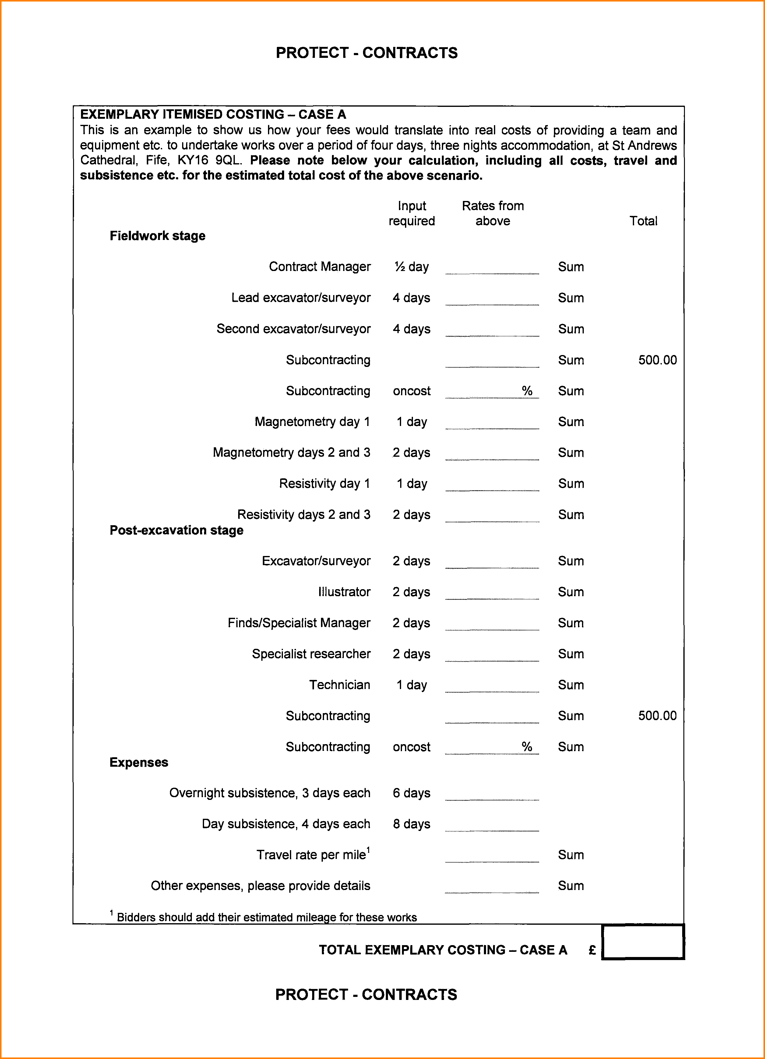 Bill Of Costs Template and 6 Itemised Bill Of Costs Template Simple Bill