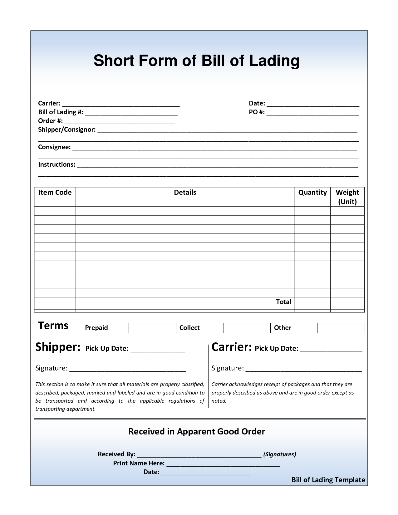 Bill Of Lading Template Free Download and 10 Best Images Of Basic Bill Of Lading Template Free Bill Of