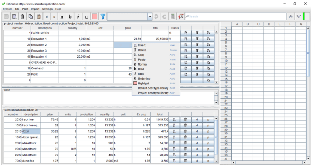 Bill Of Materials Spreadsheet Template and 7 Free Construction Estimating software Products