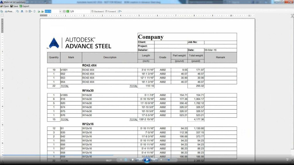 Bill Of Materials Template and Advance Steel Creating A Bom Opening It In Microsoft Excel
