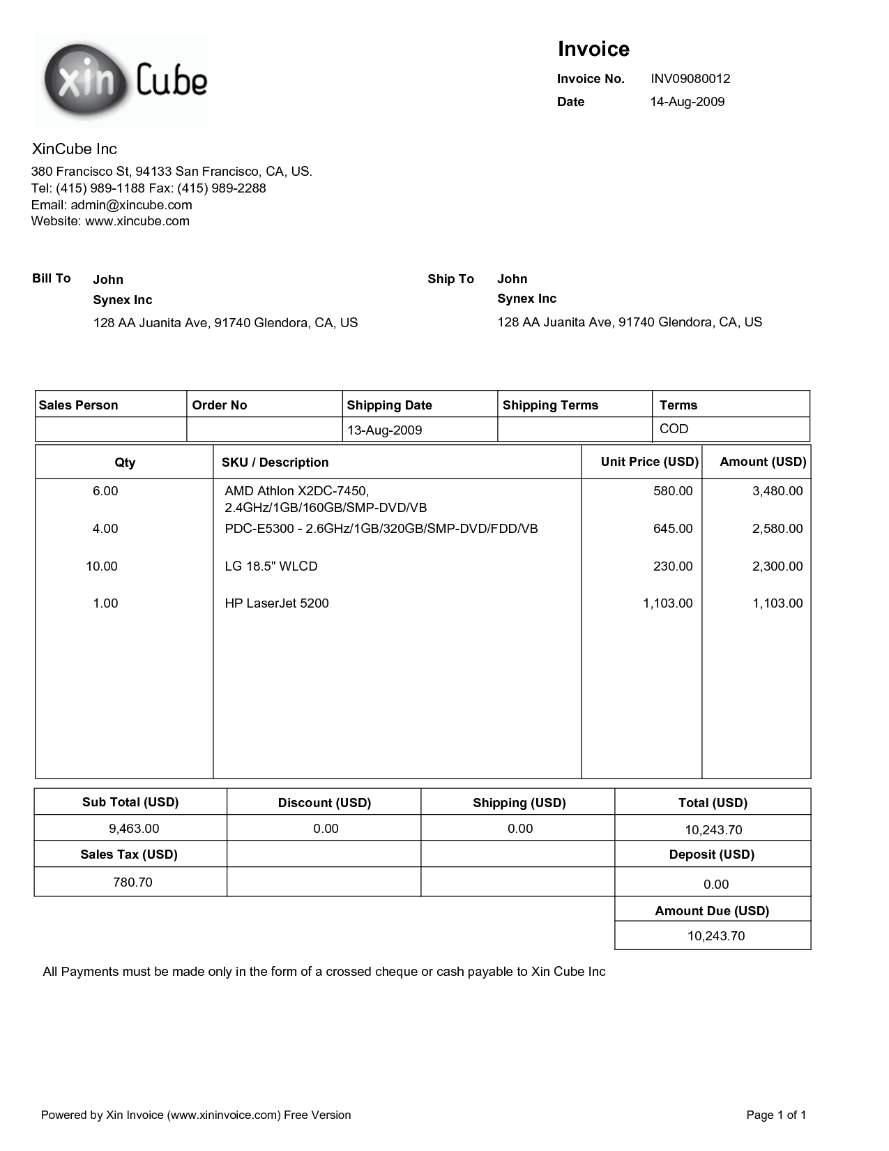 Bill Of Quantities Template and Invoice format Pdf Free Printable Invoice