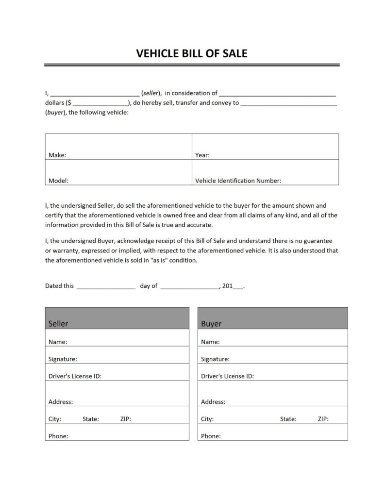 Bill Of Sale Document Template and Vehicle Bill Of Sale Word Templates Free Word Templates Ms