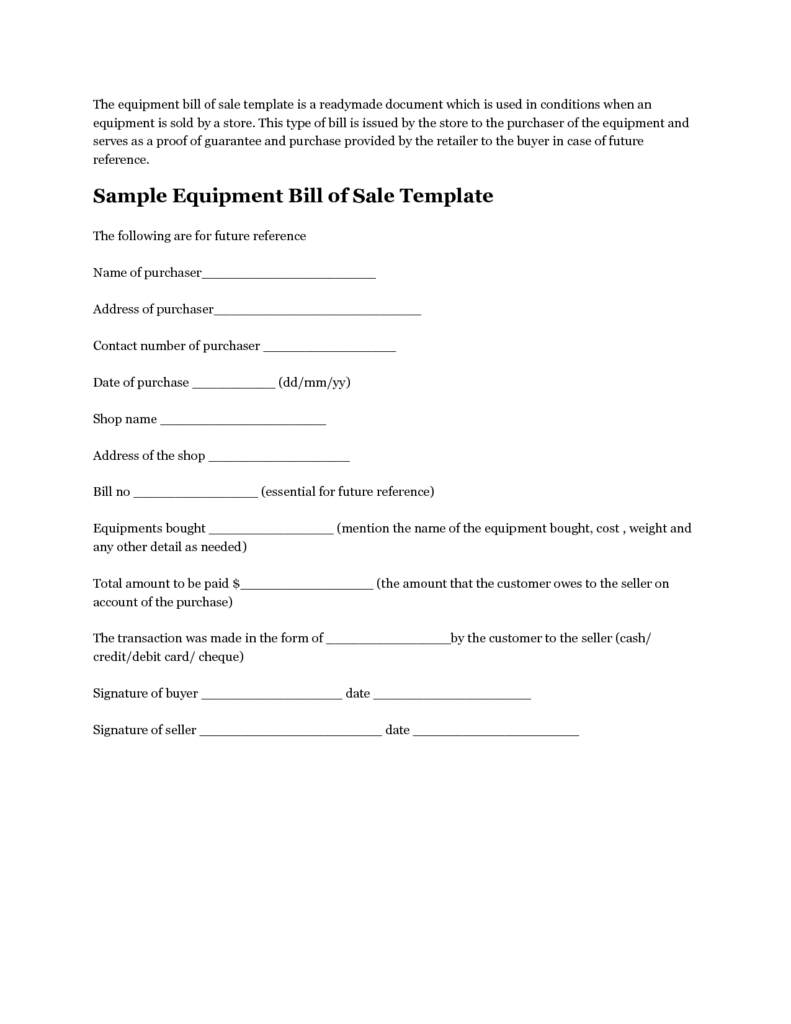 Bill Of Sale Equipment Template and Printable Sample Equipment Bill Of Sale Template form Laywers